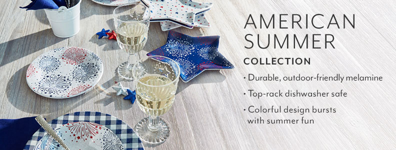 American Summer collection, durable outdoor-friendly melamine. Top rack dishwasher safe. Colorful design bursts with summer fun.