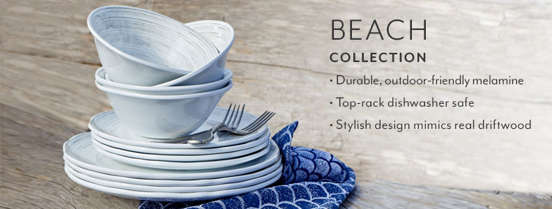 Beach collection, durable outdoor-friendly melamine. Top rack dishwasher safe. Stylish design mimics real driftwood.