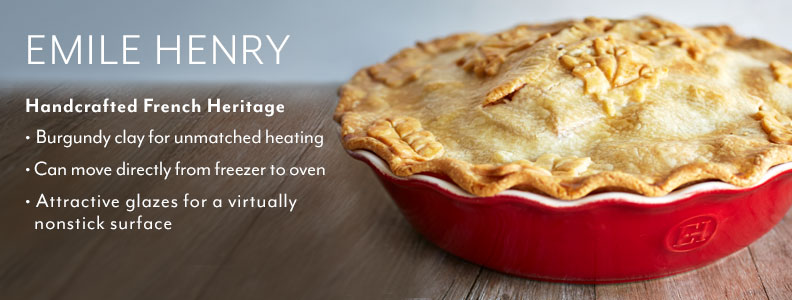 Emile Henry, Handcrafted French Heritage. Burgundy clay for unmatched heating. Can move directly from freezer to oven. Attractive glazes for a virtually nonstick surface.