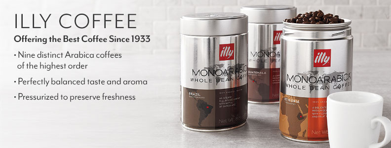 illy Coffee offering the best coffee since 1933. Nine distinct Arabica coffees of the highest order. Perfectly balanced taste and aroma. Pressurized to preserve freshness.