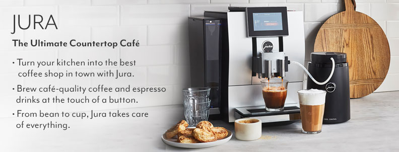 The ultimate countertop cafe Jura. Turn your kitchen into the best coffee shop in town with Jura. Brew cafe-quality coffee and espresso drinks at the touch of a button. From bean to cup, Jura takes care of everything: grinding, dosing, brewing, frothing & more.