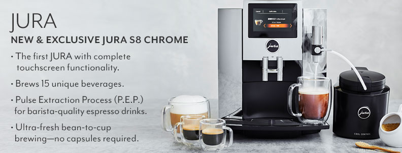 Jura new & exclusive Jura S8 Chrome. The first Jura with complete touchscreen functionality. Brews 15 unique beverages. Pulse Extraction Process (P.E.P.) for barista-quality espresso drinks. Ultra fresh from bean to cup brewing, no capsules required.