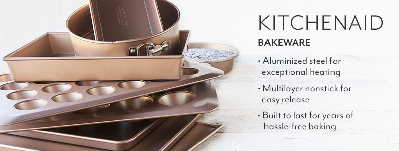 KitchenAid Bakeware, aluminized steel for exceptional heading, multilayer nonstick for easy release, built to last for years of hassle-free baking.