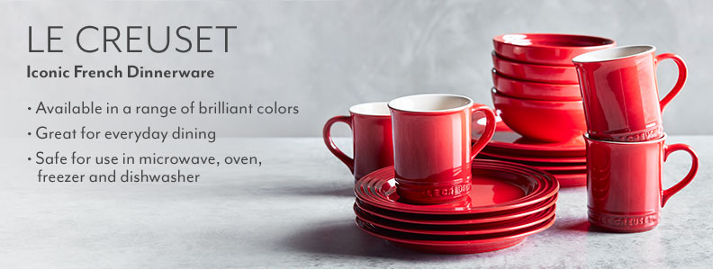 Le Creuset iconic French Dinnerware. Available in a range of brilliant colors. Great for everyday dining. Safe for use in microwave, oven, freezer and dishwasher.
