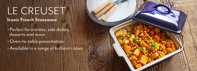 Le Creuset iconic French Stoneware. Perfect for entrees, side dishes, desserts and more. Oven-to-table presentation. Available in a rainbowe of vivid colors.