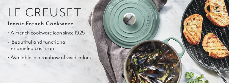 Le Creuset iconic French Cookware. A French cookware icon since 1925. Beautiful and functional enameled cast iron. Available in a rainbow of vivid colors.