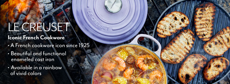 Le Creuset iconic French cookware. A French cookware icon since 1925. Beautiful and functional enameled cast iron. Available in a rainbow of vivid colors..