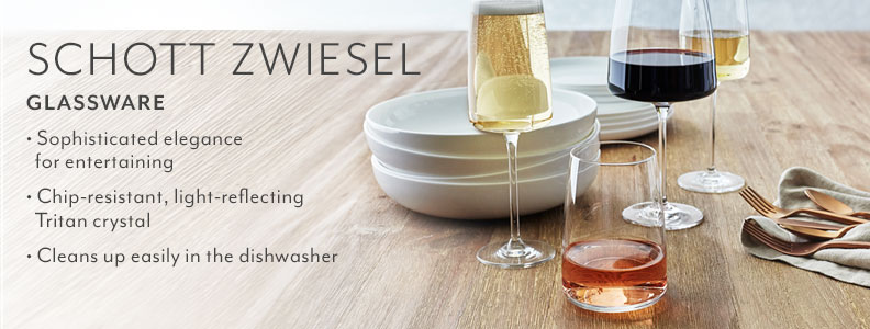 Schott Zwiesel Glassware. Sophisticated elegance for entertaining. Chip-resistant, light-reflecting Tritan crystal. Cleans up easily in the dishwasher.