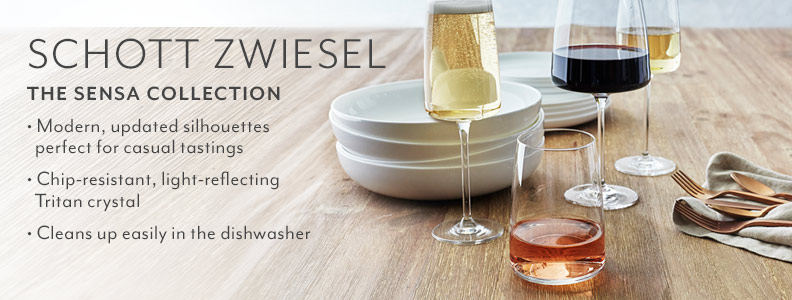Schott Zwiesel the Sensa Collection. Modern, updated silhouettes perfect for casual tastings. Chip-resistant, light-reflecting Tritan crystal. Cleans up easily in the dishwasher.