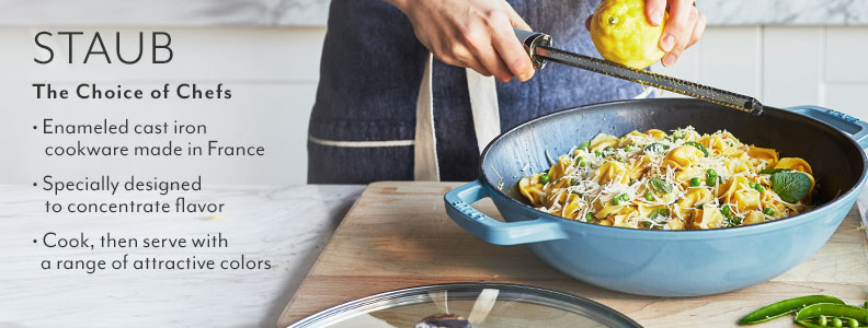 Staub enameled cast iron cookware made in France. Specially designed to concentrate flavor. Cook, then serve with a range of attractive colors.