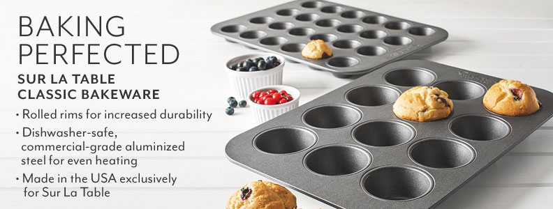 Sur La Table Classic Nonstick Bakeware, BAKING PERFECTED. Rolled rims for increased durability. Dishwasher-safe, commercial-grade aluminized steel for even heating. Made in the USA exclusively for Sur La Table.