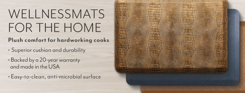 WellnessMats for the home. Premium standing solutions for a healthy way of life. The leader in comfort and durability. Made in the USA with a 20 year warranty. Anti-microbial and easy-to-clean.
