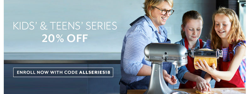 Ends Wednesday June 20th, Kids and Teens series 20% off, enroll now with code ALLSERIES18.