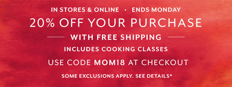Ends Monday 20% off your purchase with free shipping, shop with code MOM18.