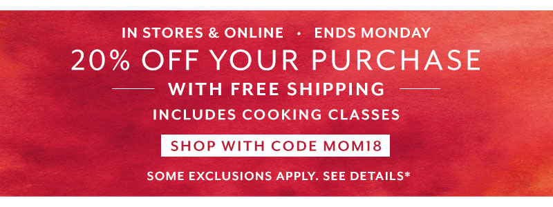 Ends Monday 20% off your purchase, includes shipping.