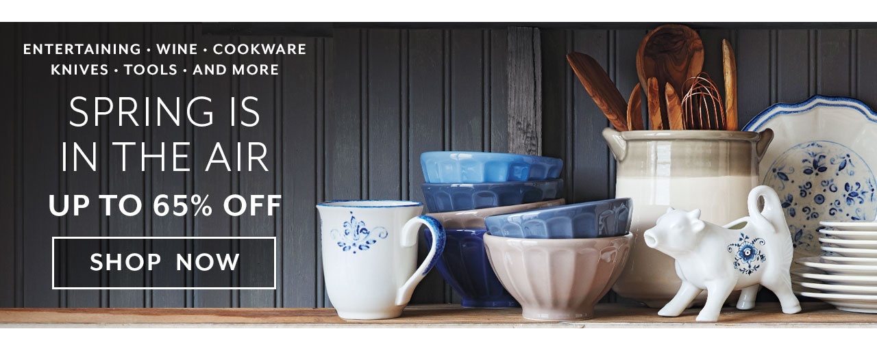 Entertaining Sale, spring is in the air 20% off, shop now.