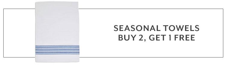 Ends Soon, seasonal towels buy 2, get 1 free.