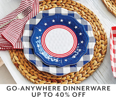 Go-anywhere dinnerware up to 40% off