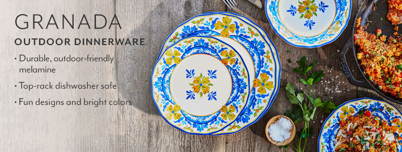 Granada Outdoor Dinnerware, durable, outdoor-friendly melamine. Top-rack dishwasher safe. Fun designs and bright colors.