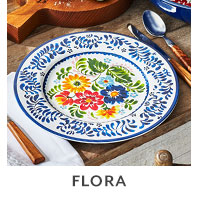 Flora outdoor dinnerware.