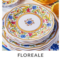 Floreale outdoor dinnerware.