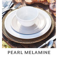 Pearl Melamine outdoor dinnerware.