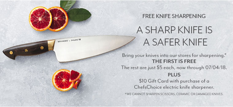 A sharp knife is a safer knife. We offer fast, professional sharpening just $5 each. We cannot sharpen scissors, ceramic or damaged knives. See store associate for 